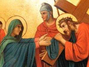 Fr Pfettisheim Chemin de croix station IV Mary and Christ